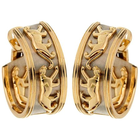Cartier Vintage Panthere Gold Hoop Earrings For Sale at 1stDibs