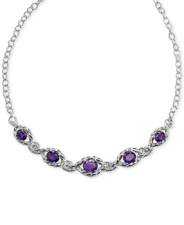 Carolyn Pollack Amethyst Statement Necklace (7-3/8 ct. t.w.) in Sterling Silver & Reviews - Necklaces - Jewelry & Watches - Macy's