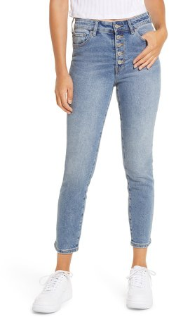 Wedgie Button Fly High Waist Skinny Jeans