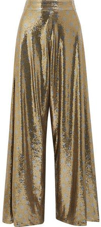 Polka-dot Sequined Mesh Wide-leg Pants - Gold