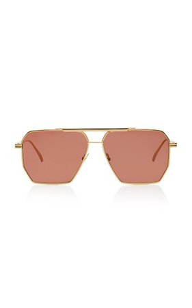 Square-Frame Aviator Metal Sunglasses By Bottega Veneta | Moda Operandi