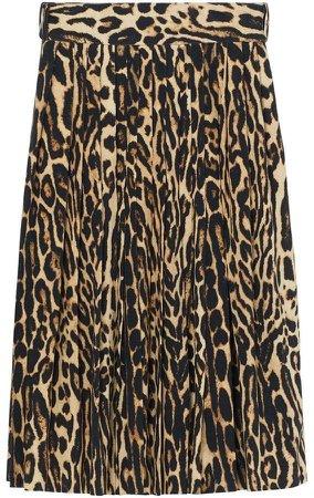 Leopard Print Stretch Silk Pleated Skirt