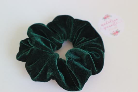 Soft Emerald Green Royal Velvet Scrunchie FREE Shipping Hair | Etsy