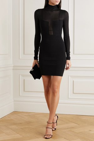 Hervé Léger | Jersey-paneled bandage turtleneck mini dress | NET-A-PORTER.COM