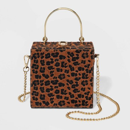Estee & Lilly Leopard Print With Top Handle Clutch - Brown : Target