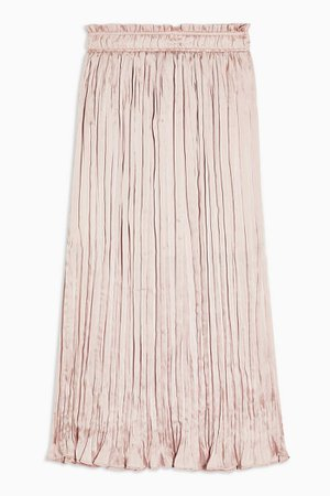 Pink Crushed Satin Pleated Skirt | Topshop