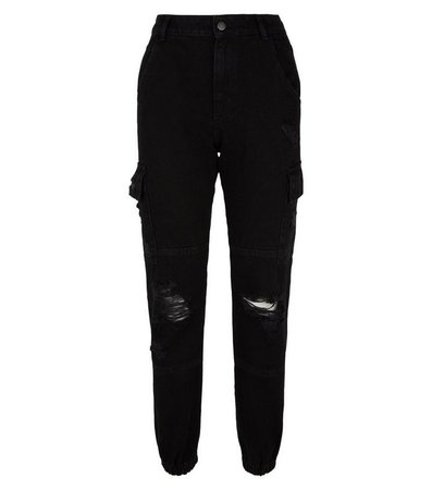 Black Ripped Utility Jeans   New Look