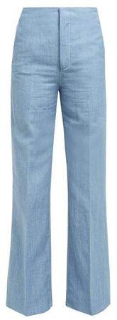 Kirk High Rise Linen Blend Wide Leg Trousers - Womens - Blue