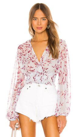 Bardot Mable Blouse in Sky Blue Floral | REVOLVE
