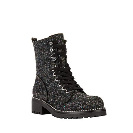 Portland Boot Company - Portland Boot Company Glitter Faux Leather Combat Boot (Women's) - Walmart.com black