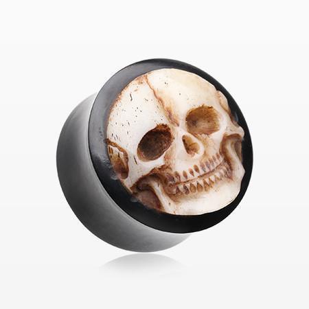 A Pair of Death Skull Organic Bone Inlay Buffalo Horn Ear Gauge Plug – BM25.com