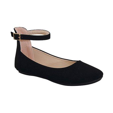 Belladia Black Bazar Ankle-Strap Ballet Flat