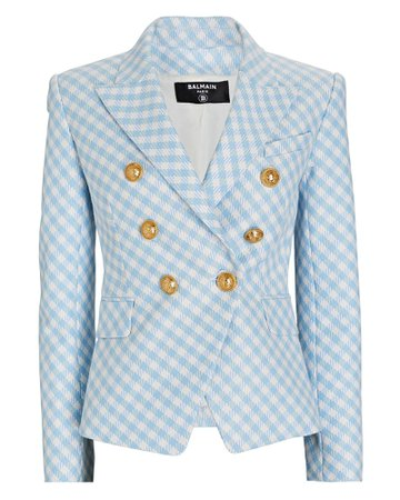 Balmain Gingham Double-Breasted Blazer | INTERMIX®