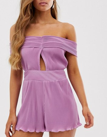 Collective The Label bandeau romper with knot front in lilac | ASOS