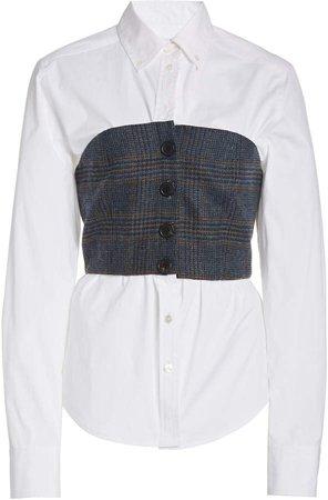 Veronica Beard Miki Bustier-Detailed Cotton Top