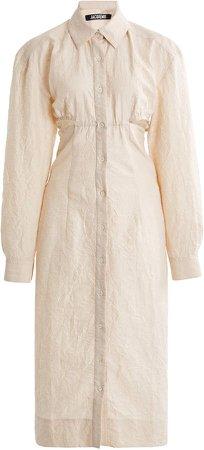 Jacquemus Cavaou Cutout Cotton-Linen Shirt Dress
