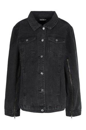 Zip Detail Denim Jacket | boohoo