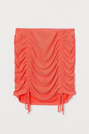 Draped Mesh Skirt - Orange