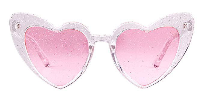 Amazon.com: Heart Sunglasses Clout Goggle Retro Vintage Cat Eye Mod Style Women Kurt Cobain Glasses Plastic Frame Mirrored Lens (2 Pack Double Pink, 53): Clothing