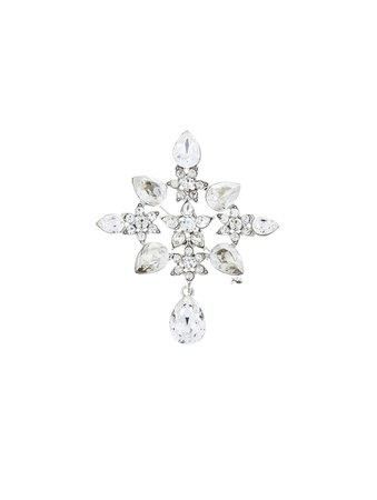 Oscar de la Renta, Flower Crystal Brooch Cry Silver
