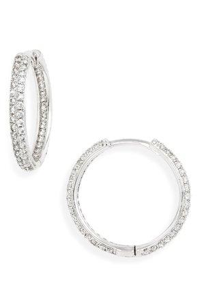 Nordstrom Thin Pavé Hoop Earrings | Nordstrom