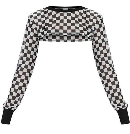 Checkered Cropped Sheer Top