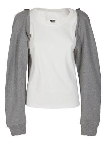 White And Grey Cotton Sweatshirt