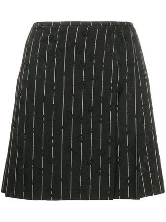 McQ Alexander McQueen Pinstripe Floral Embroidered Skirt - Farfetch