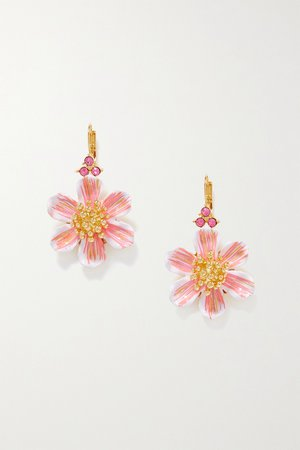 Gold Gold-plated, enamel and crystal earrings | Dolce & Gabbana | NET-A-PORTER