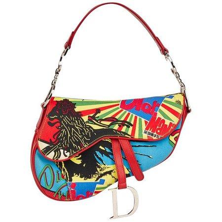 2003 Christian Dior Multicolour Canvas and Red Calfski Rasta Mania Saddle Bag For Sale at 1stdibs