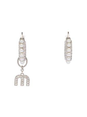 Miu Miu pearl-embellished Mismatched Earrings - Farfetch
