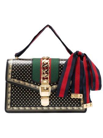 Gucci Black Sylvie Small Stars Print Leather Shoulder Bag 4218820KLLG | Farfetch
