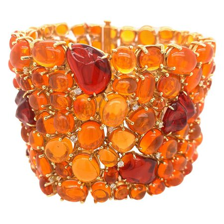 Cabochon Fire Opal and Diamond Statement Bracelet For Sale at 1stDibs