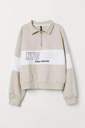 Sweatshirt with Collar - Brown