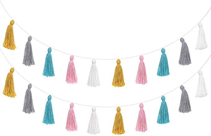 Amazon.com: Mkono 2 Pack Cotton Tassel Garland Banner Colorful Party Backdrop Decorative Wall Hangings Llama Decorations for Bedroom,Nursey Dorm Room,Birthday,Baby Shower,Girls Boho Home Decor, New Years Eve Gift: Home & Kitchen