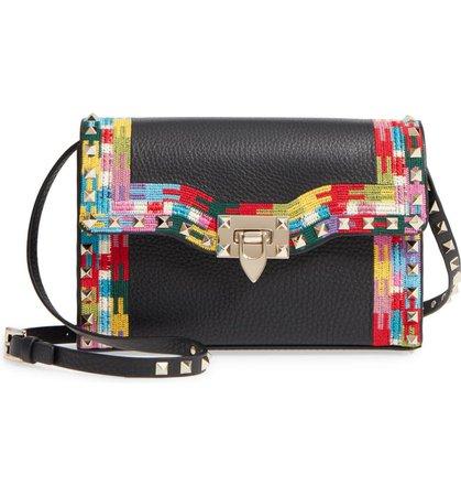 VALENTINO GARAVANI Medium Rockstud Embroidered Leather Shoulder Bag | Nordstrom