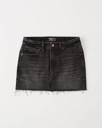 Black Denim Micro Mini Skirt