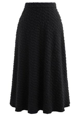 Embossed Mesh Flare Midi Skirt in Black - Retro, Indie and Unique Fashion