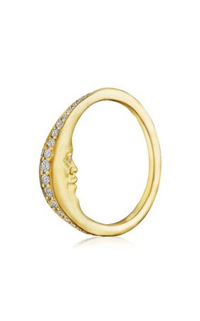 Crescent Moonface 18k Yellow Gold Diamond Ring By Anthony Lent   Moda Operandi