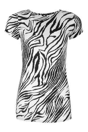 Animal Print Longline Rib Top | boohoo