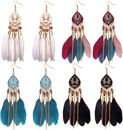 Amazon.com: 6Pcs Bohemian Feather Dangle Earrings for Women Colorful Boho Beaded Drop Earrings Jewelry (A): Jewelry
