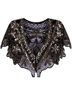 Amazon.com: PrettyGuide Bolero de lentejuelas de manga larga, para boda, chaqueta, Classic, S/US4-6, Negro: Clothing