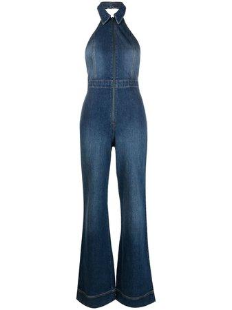 Alice+Olivia Gorgeous flared denim jumpsuit