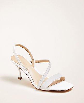 Annette Embossed Leather Slingback Sandals