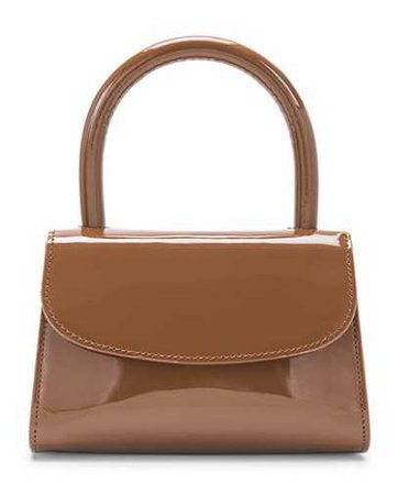 BY FAR Brown Patent Mini Handbag