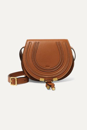 Tan Marcie mini textured-leather shoulder bag | Chloé | NET-A-PORTER
