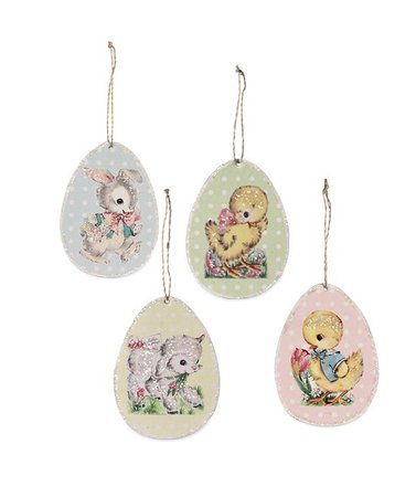Retro Paper Egg Ornaments | Bethany Lowe Easter Decorations - TheHolidayBarn.com