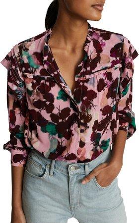 Phoenix Floral Ruffle Long Sleeve Blouse