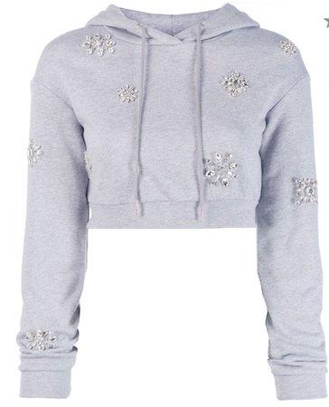 area embellished crop hoodie