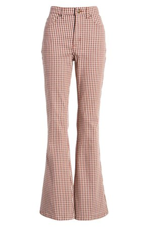 Lee Check High Waist Flare Pants | Nordstrom